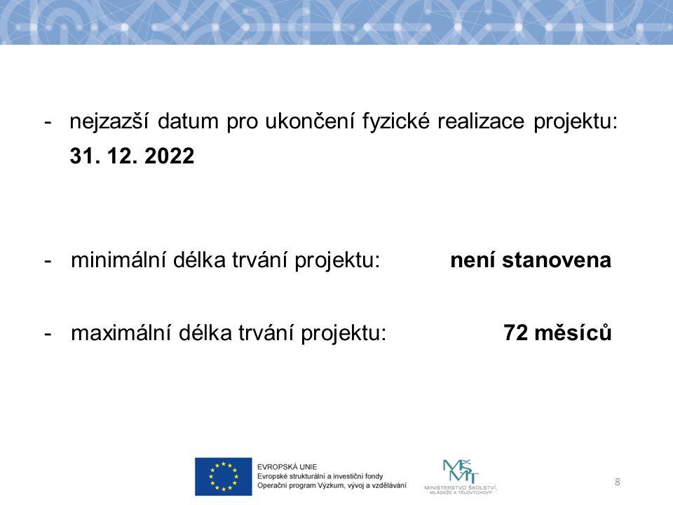 -nejzazší datum pro ukončení fyzické realizace projektu: 31.