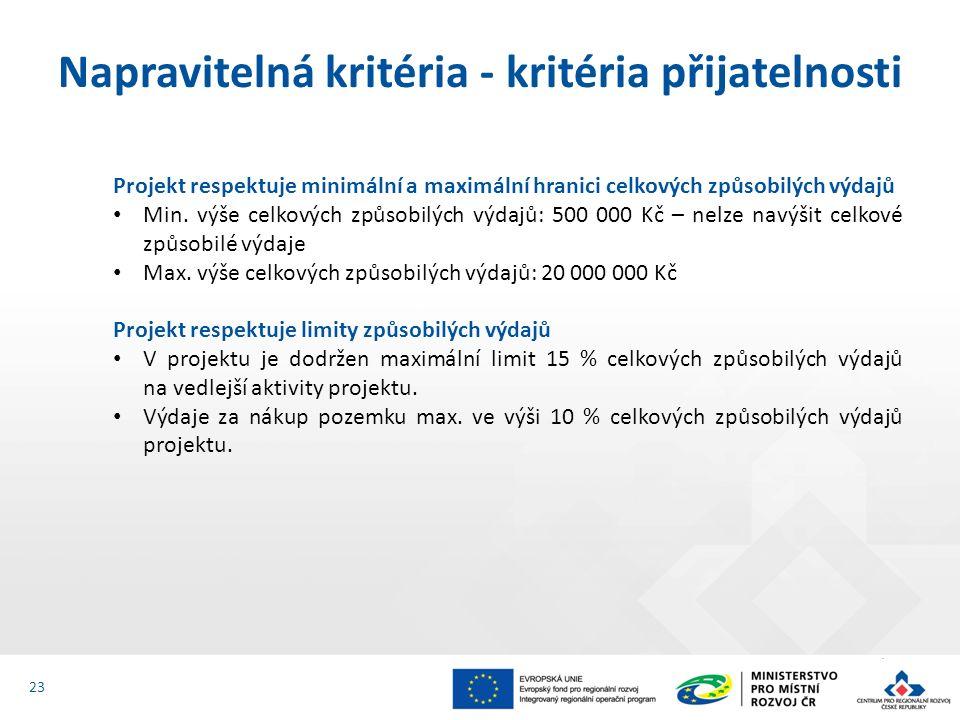 Projekt respektuje minimální a maximální hranici celkových způsobilých výdajů Min.