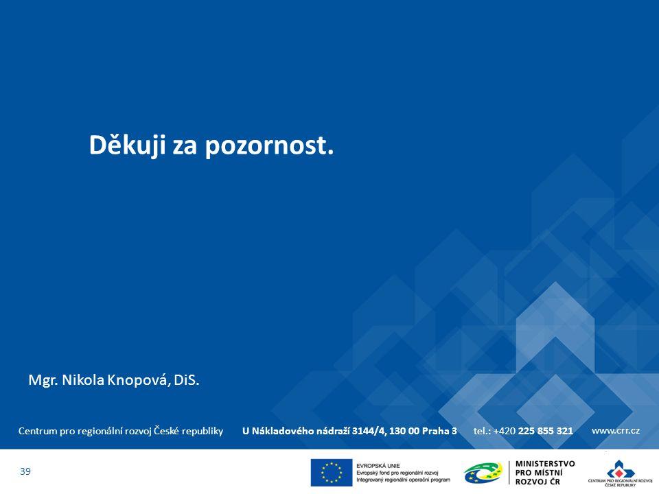 Centrum pro regionální rozvoj České republikyU Nákladového nádraží 3144/4, 130 00 Praha 3tel.: +420 225 855 321 www.crr.cz Děkuji za pozornost. 39 Mgr