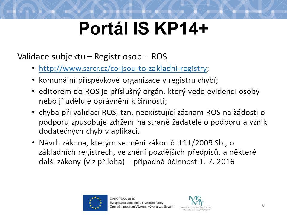 Portál IS KP14+ Validace subjektu – Registr osob - ROS http://www.szrcr.cz/co-jsou-to-zakladni-registry; http://www.szrcr.cz/co-jsou-to-zakladni-regis