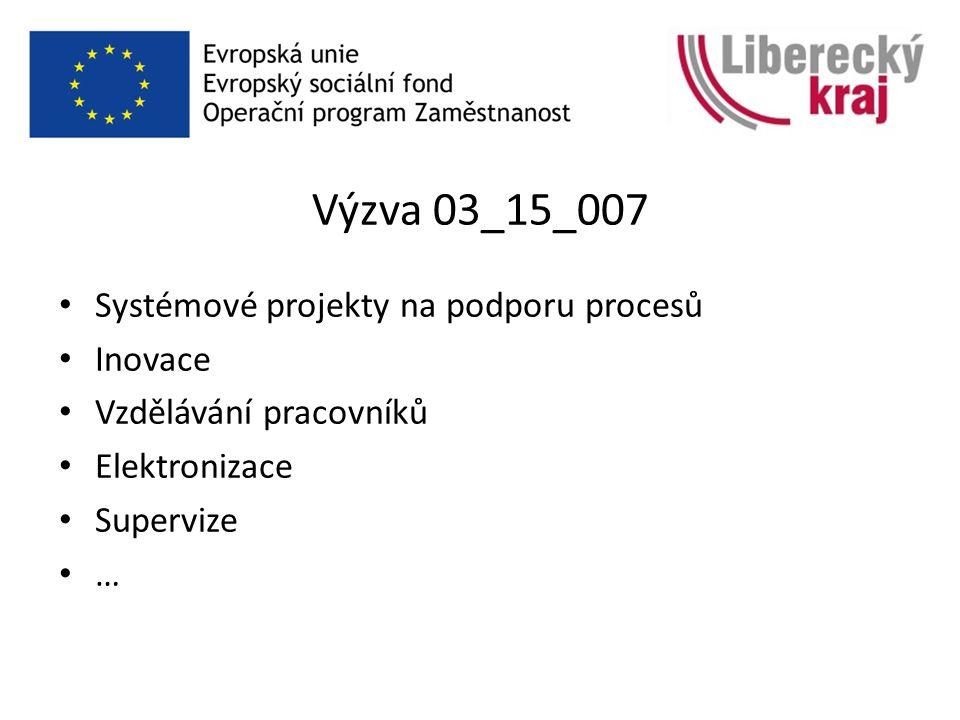Výzva 03_15_007 Systémové projekty na podporu procesů Inovace Vzdělávání pracovníků Elektronizace Supervize …