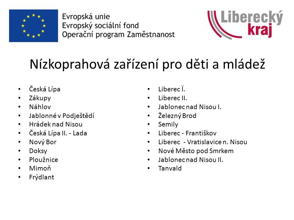 Nízkoprahová zařízení pro děti a mládež Česká Lípa Zákupy Náhlov Jablonné v Podještědí Hrádek nad Nisou Česká Lípa II.