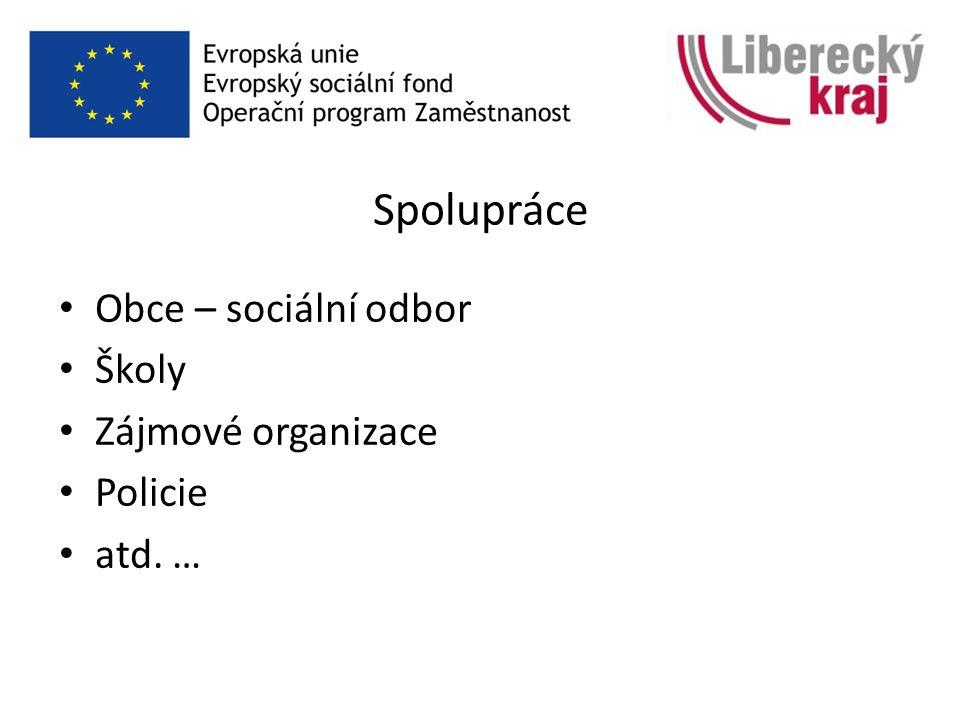 Spolupráce Obce – sociální odbor Školy Zájmové organizace Policie atd. …