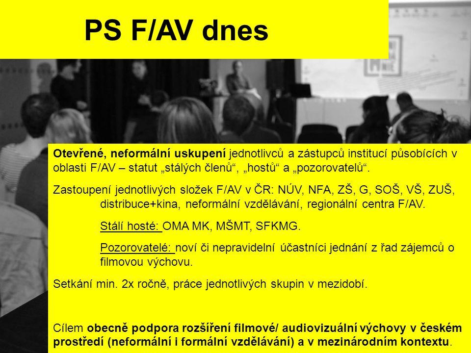 """PS F/AV dnes Otevřené, neformální uskupení jednotlivců a zástupců institucí působících v oblasti F/AV – statut """"stálých členů , """"hostů a """"pozorovatelů ."""