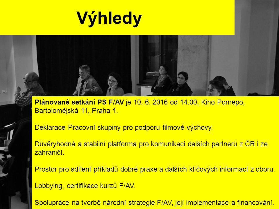 Výhledy Plánované setkání PS F/AV je 10. 6. 2016 od 14:00, Kino Ponrepo, Bartolomějská 11, Praha 1. Deklarace Pracovní skupiny pro podporu filmové výc