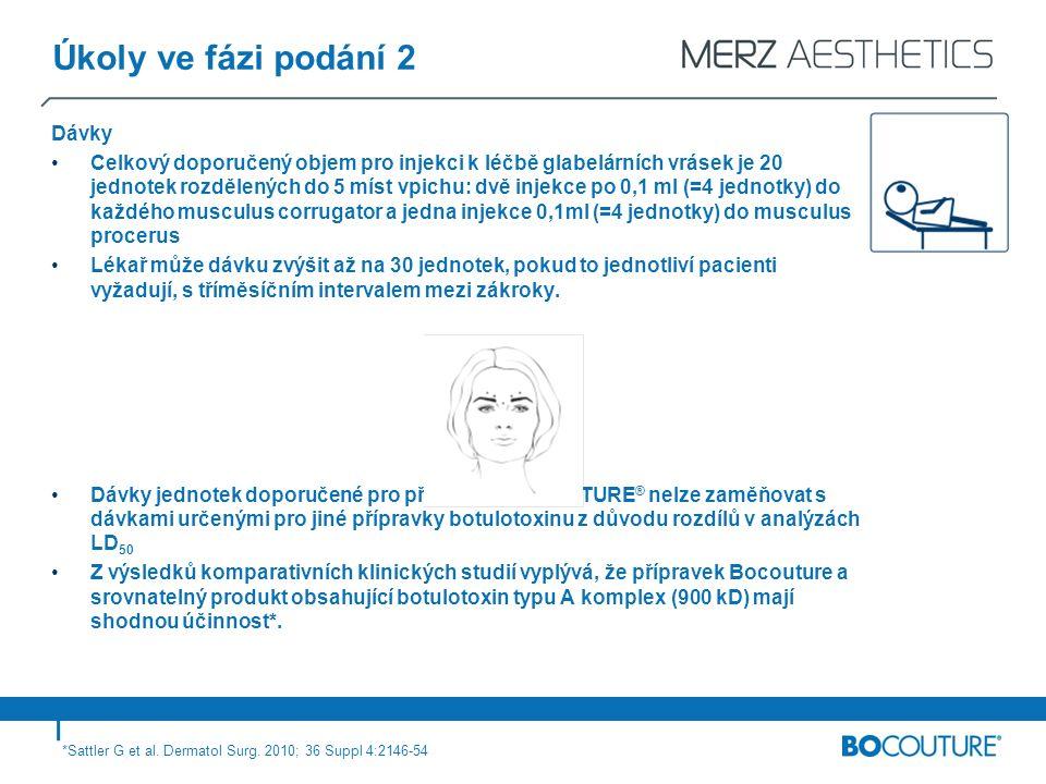 Úkoly ve fázi podání 2 Dávky Celkový doporučený objem pro injekci k léčbě glabelárních vrásek je 20 jednotek rozdělených do 5 míst vpichu: dvě injekce po 0,1 ml (=4 jednotky) do každého musculus corrugator a jedna injekce 0,1ml (=4 jednotky) do musculus procerus Lékař může dávku zvýšit až na 30 jednotek, pokud to jednotliví pacienti vyžadují, s tříměsíčním intervalem mezi zákroky.