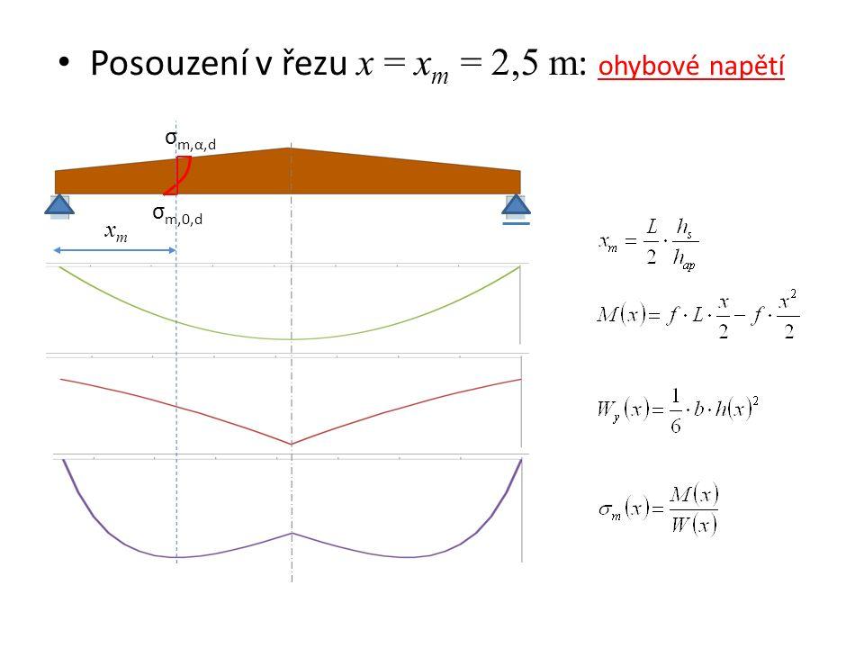 Posouzení v řezu x = x m = 2,5 m : ohybové napětí σ m,α,d xmxm σ m,0,d