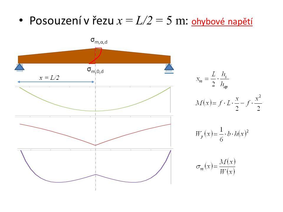 Posouzení v řezu x = L/2 = 5 m : ohybové napětí σ m,α,d x = L/2 σ m,0,d