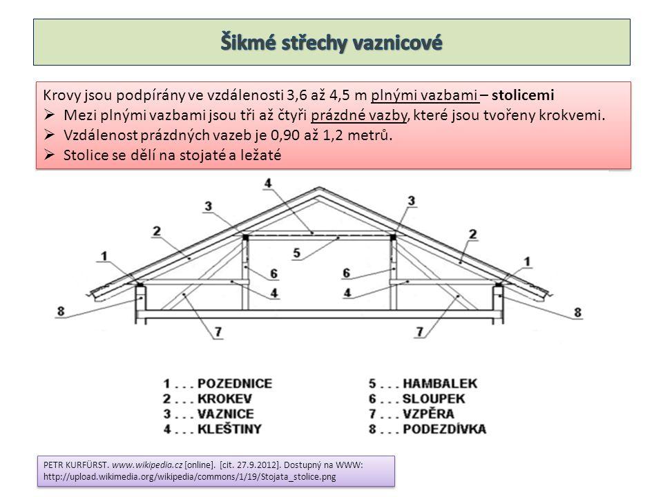 Vazní trámy – přenáší tíhu krovu do svislých konstrukcí  180 x 240 mm  Někdy se podpírají pilíři Vazní trámy – přenáší tíhu krovu do svislých konstrukcí  180 x 240 mm  Někdy se podpírají pilíři Sloupky – jsou spojeny čepem s vazním trámem, podpírají vaznice  160 x160 mm Sloupky – jsou spojeny čepem s vazním trámem, podpírají vaznice  160 x160 mm Vzpěry – ztužují krov v příčném směru  160 x180 mm Vzpěry – ztužují krov v příčném směru  160 x180 mm Kleštiny – ztužují krov v příčném směru  2 x 50 x160 mm Kleštiny – ztužují krov v příčném směru  2 x 50 x160 mm