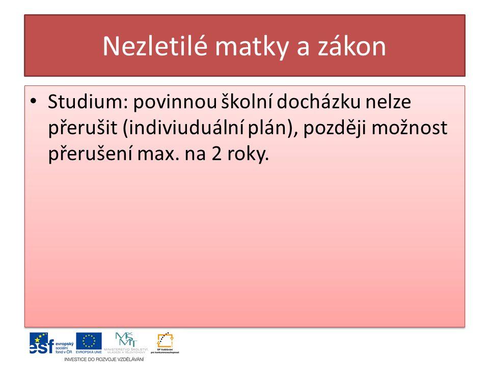 Nezletilé matky a zákon Studium: povinnou školní docházku nelze přerušit (indiviuduální plán), později možnost přerušení max.