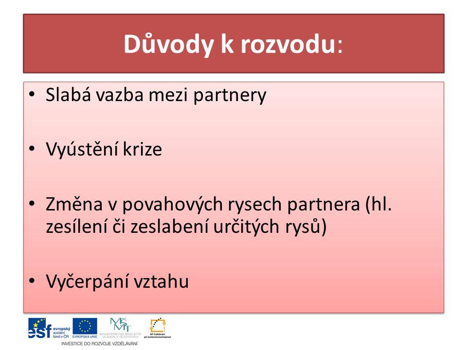 Důvody k rozvodu: Slabá vazba mezi partnery Vyústění krize Změna v povahových rysech partnera (hl.