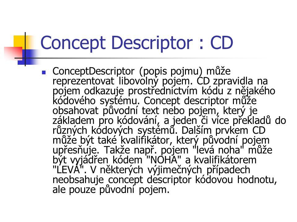 Concept Descriptor : CD ConceptDescriptor (popis pojmu) může reprezentovat libovolný pojem.