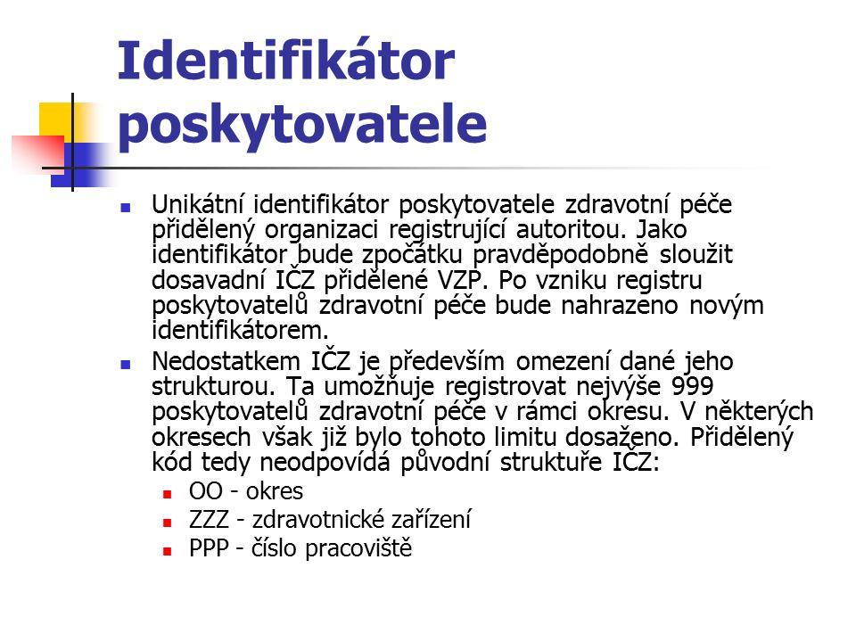 Identifikátor poskytovatele Unikátní identifikátor poskytovatele zdravotní péče přidělený organizaci registrující autoritou.