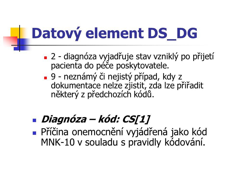 Datový element DS_DG 2 - diagnóza vyjadřuje stav vzniklý po přijetí pacienta do péče poskytovatele. 9 - neznámý či nejistý případ, kdy z dokumentace n