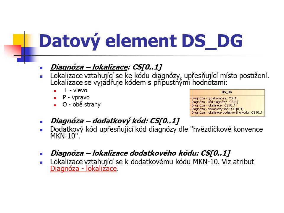 Datový element DS_DG Diagnóza – lokalizace: CS[0..1] Lokalizace vztahující se ke kódu diagnózy, upřesňující místo postižení.