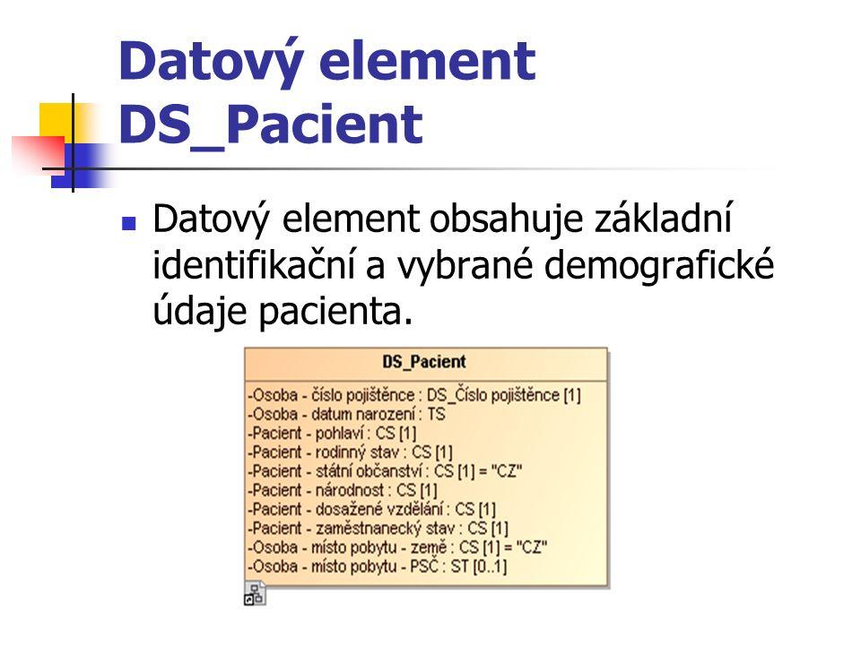 Datový element DS_Pacient Datový element obsahuje základní identifikační a vybrané demografické údaje pacienta.