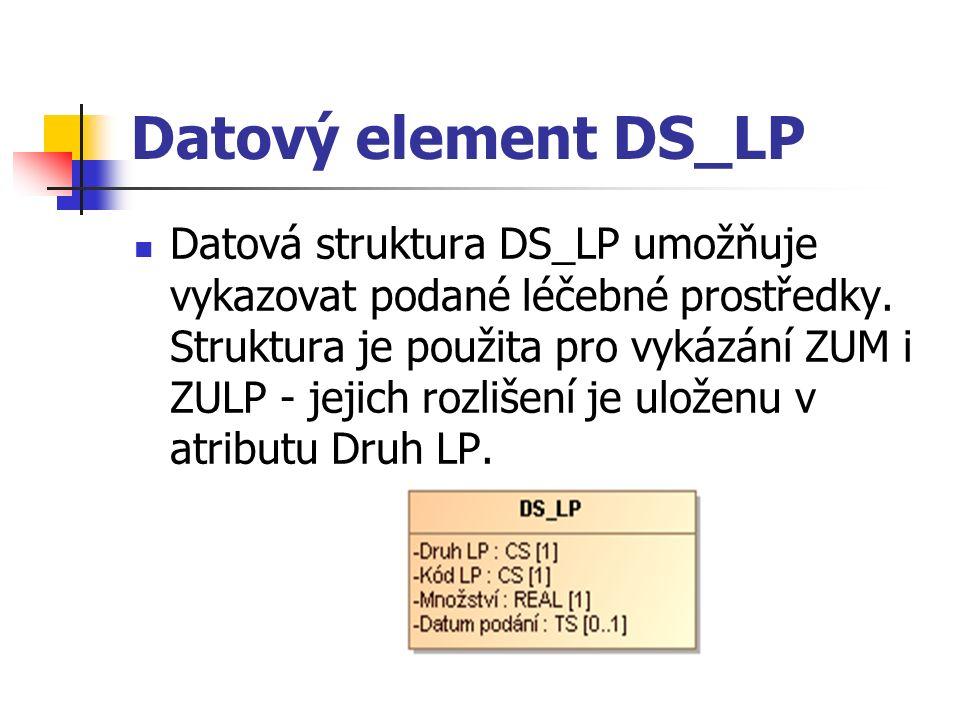 Datový element DS_LP Datová struktura DS_LP umožňuje vykazovat podané léčebné prostředky.