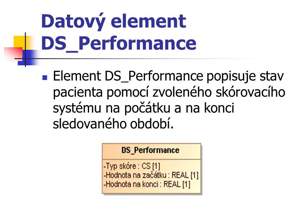 Datový element DS_Performance Element DS_Performance popisuje stav pacienta pomocí zvoleného skórovacího systému na počátku a na konci sledovaného období.