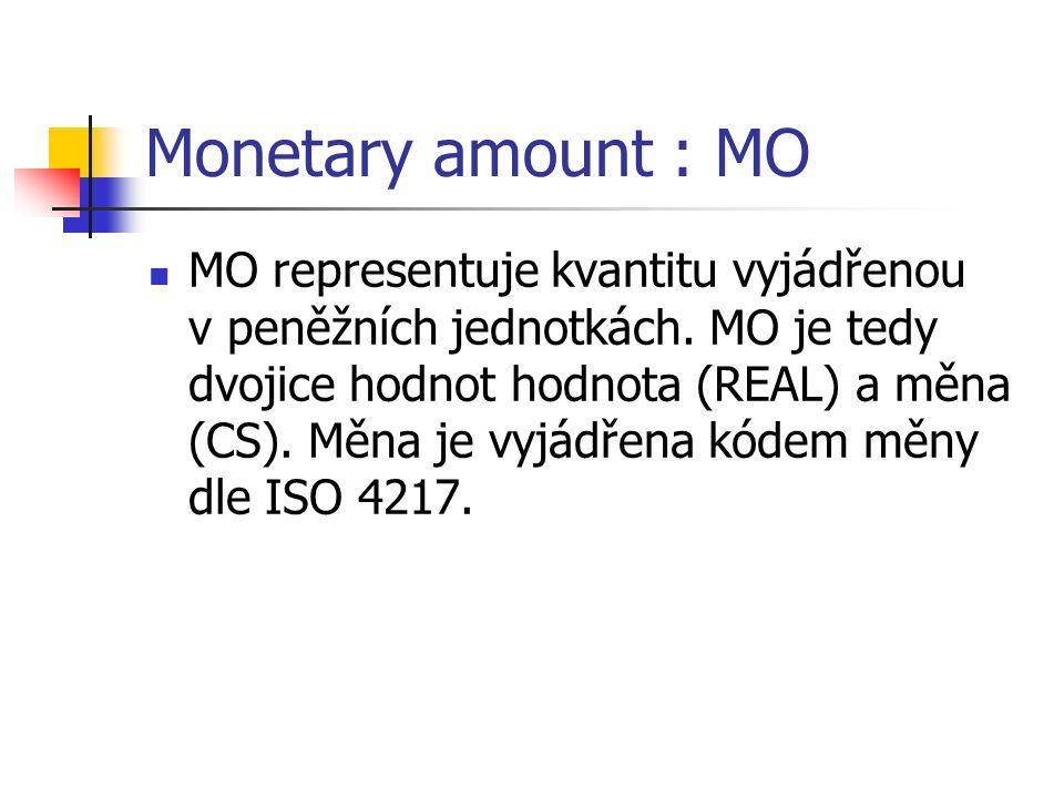 Monetary amount : MO MO representuje kvantitu vyjádřenou v peněžních jednotkách. MO je tedy dvojice hodnot hodnota (REAL) a měna (CS). Měna je vyjádře