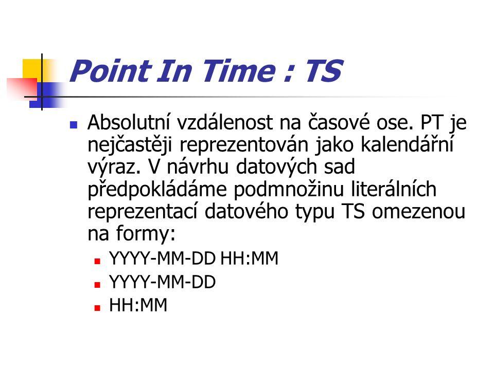 Point In Time : TS Absolutní vzdálenost na časové ose. PT je nejčastěji reprezentován jako kalendářní výraz. V návrhu datových sad předpokládáme podmn