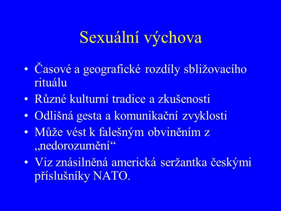 """Sexuální výchova Časové a geografické rozdíly sbližovacího rituálu Různé kulturní tradice a zkušenosti Odlišná gesta a komunikační zvyklosti Může vést k falešným obviněním z """"nedorozumění Viz znásilněná americká seržantka českými příslušníky NATO."""