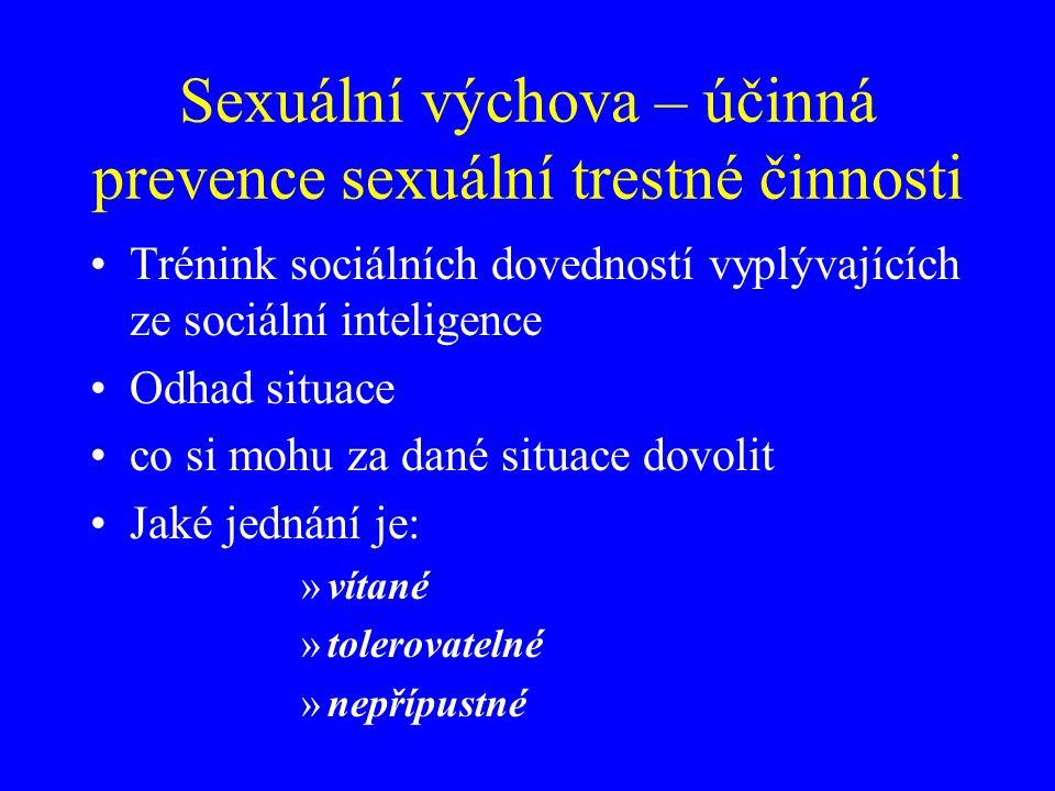 Sexuální výchova – účinná prevence sexuální trestné činnosti Trénink sociálních dovedností vyplývajících ze sociální inteligence Odhad situace co si mohu za dané situace dovolit Jaké jednání je: »vítané »tolerovatelné »nepřípustné
