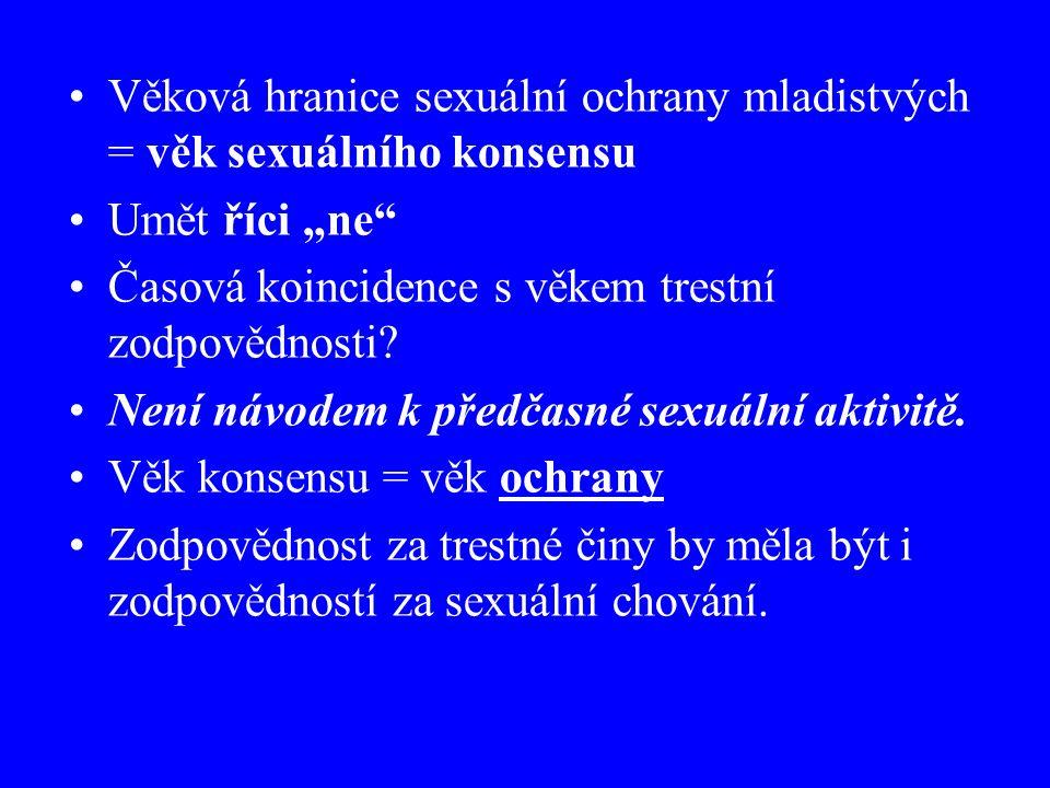 """Věková hranice sexuální ochrany mladistvých = věk sexuálního konsensu Umět říci """"ne Časová koincidence s věkem trestní zodpovědnosti."""