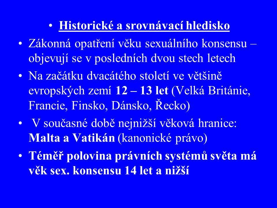 Historické a srovnávací hledisko Zákonná opatření věku sexuálního konsensu – objevují se v posledních dvou stech letech Na začátku dvacátého století ve většině evropských zemí 12 – 13 let (Velká Británie, Francie, Finsko, Dánsko, Řecko) V současné době nejnižší věková hranice: Malta a Vatikán (kanonické právo) Téměř polovina právních systémů světa má věk sex.