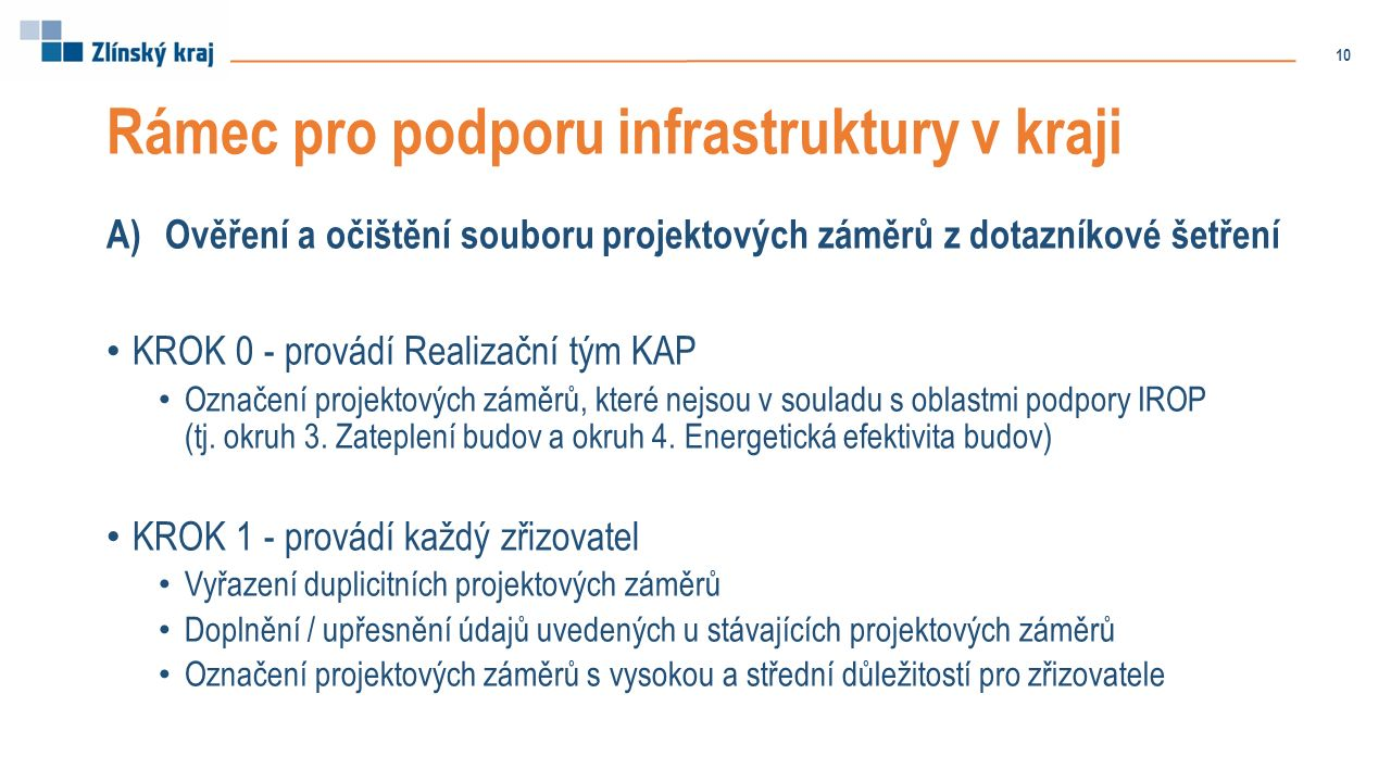Rámec pro podporu infrastruktury v kraji A)Ověření a očištění souboru projektových záměrů z dotazníkové šetření KROK 0 - provádí Realizační tým KAP Označení projektových záměrů, které nejsou v souladu s oblastmi podpory IROP (tj.