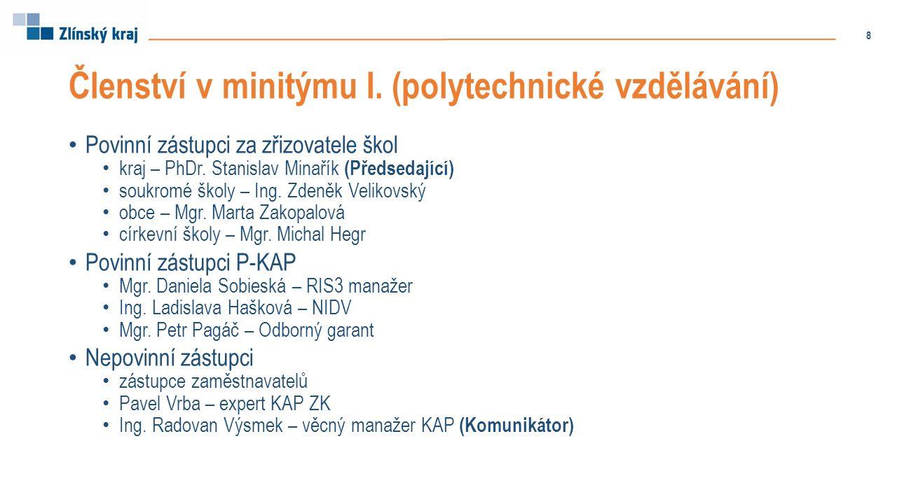 Členství v minitýmu I. (polytechnické vzdělávání) Povinní zástupci za zřizovatele škol kraj – PhDr. Stanislav Minařík (Předsedající) soukromé školy –