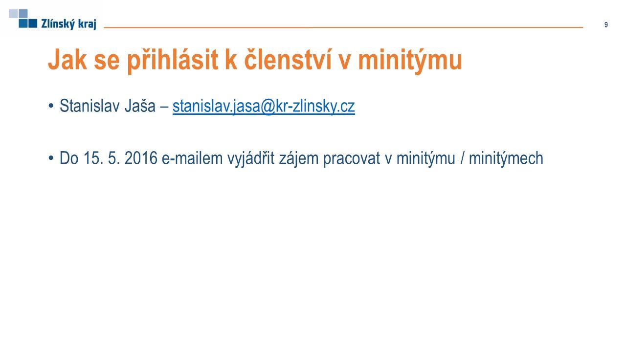 Jak se přihlásit k členství v minitýmu Stanislav Jaša – stanislav.jasa@kr-zlinsky.czstanislav.jasa@kr-zlinsky.cz Do 15. 5. 2016 e-mailem vyjádřit záje