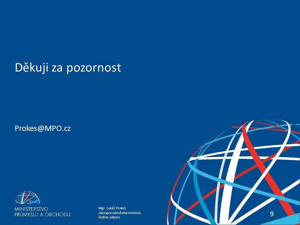 Mgr. Lukáš Prokeš zástupce náměstka ministra ředitel odboru Podpora exportu a ekonomická diplomacie 99 Děkuji za pozornost Prokes@MPO.cz