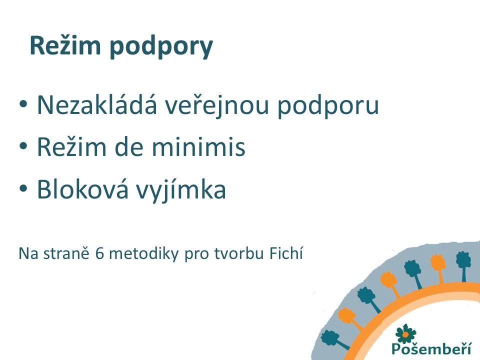 Režim podpory Nezakládá veřejnou podporu Režim de minimis Bloková vyjímka Na straně 6 metodiky pro tvorbu Fichí