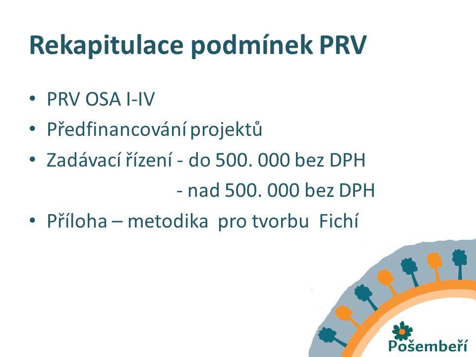 Rekapitulace podmínek PRV PRV OSA I-IV Předfinancování projektů Zadávací řízení - do 500.