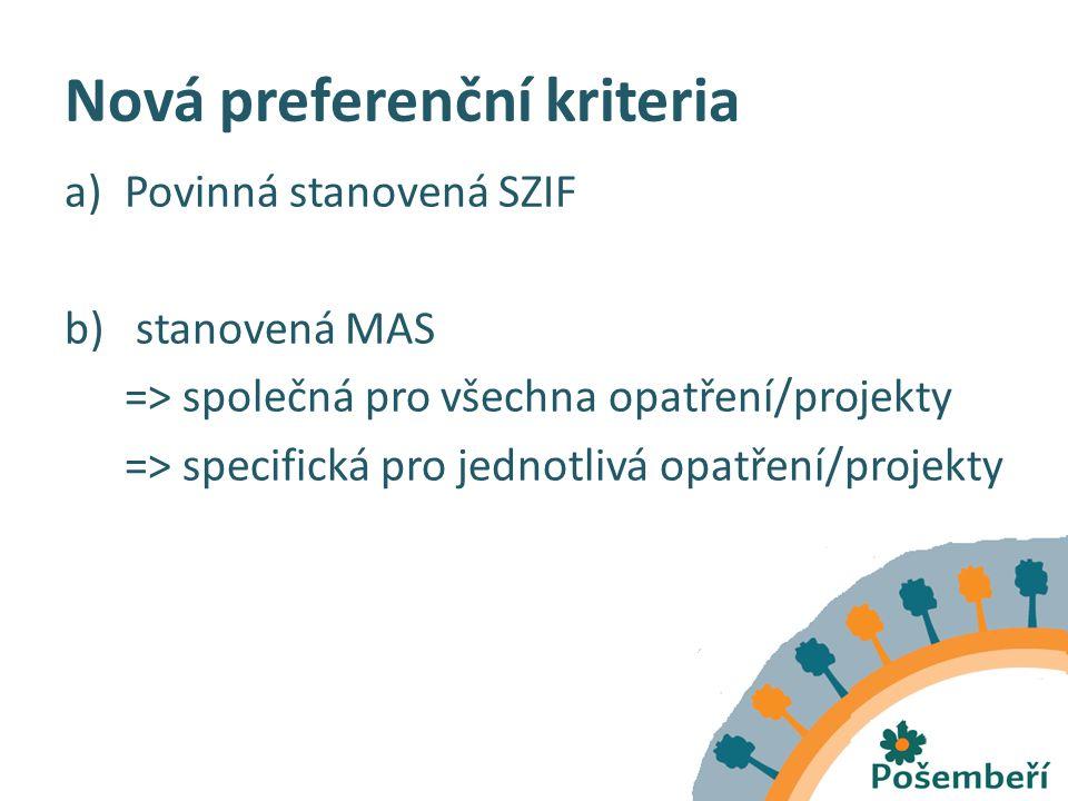 Nová preferenční kriteria a)Povinná stanovená SZIF b) stanovená MAS => společná pro všechna opatření/projekty => specifická pro jednotlivá opatření/projekty