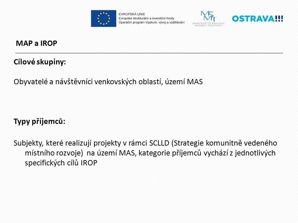 MAP a IROP Cílové skupiny: Obyvatelé a návštěvníci venkovských oblastí, území MAS Typy příjemců: Subjekty, které realizují projekty v rámci SCLLD (Strategie komunitně vedeného místního rozvoje) na území MAS, kategorie příjemců vychází z jednotlivých specifických cílů IROP