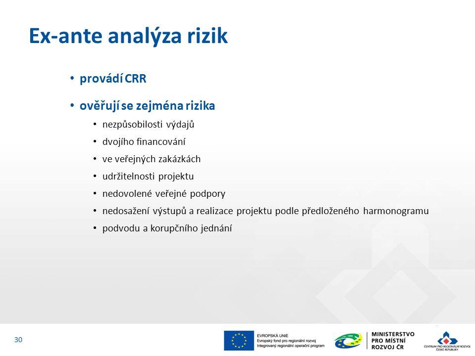 provádí CRR ověřují se zejména rizika nezpůsobilosti výdajů dvojího financování ve veřejných zakázkách udržitelnosti projektu nedovolené veřejné podpory nedosažení výstupů a realizace projektu podle předloženého harmonogramu podvodu a korupčního jednání Ex-ante analýza rizik 30
