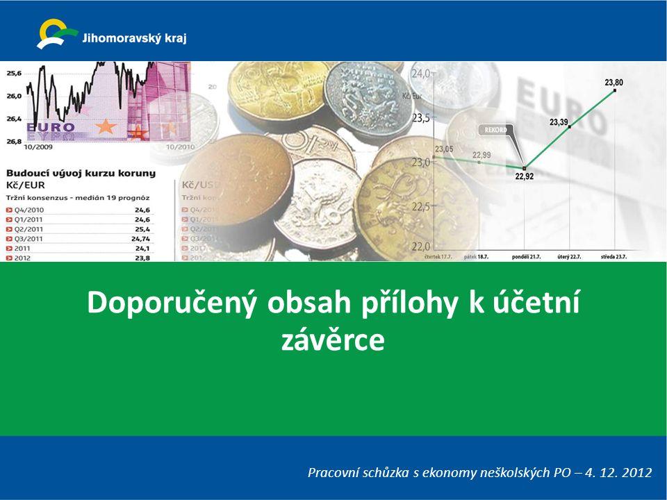 Doporučený obsah přílohy k účetní závěrce Pracovní schůzka s ekonomy neškolských PO – 4. 12. 2012