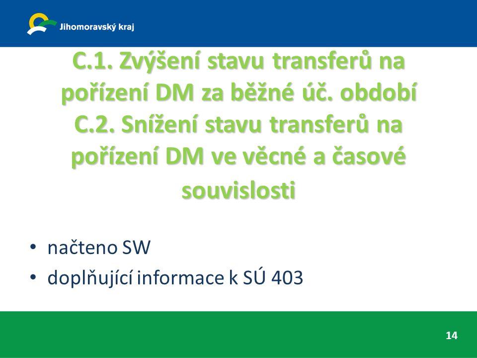 C.1. Zvýšení stavu transferů na pořízení DM za běžné úč.