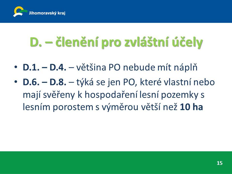 D. – členění pro zvláštní účely D.1. – D.4. – většina PO nebude mít náplň D.6.