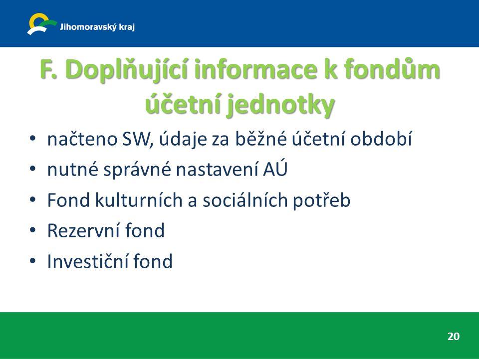 F. Doplňující informace k fondům účetní jednotky načteno SW, údaje za běžné účetní období nutné správné nastavení AÚ Fond kulturních a sociálních potř