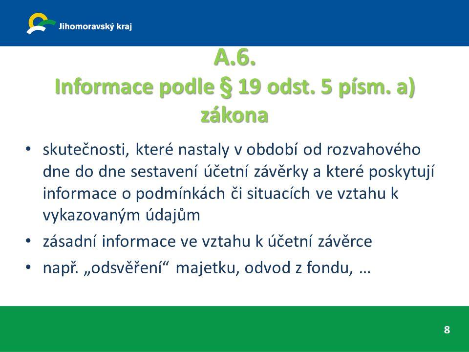 A.6. Informace podle § 19 odst. 5 písm.