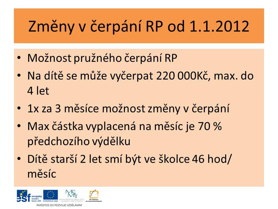 Změny v čerpání RP od 1.1.2012 Možnost pružného čerpání RP Na dítě se může vyčerpat 220 000Kč, max.