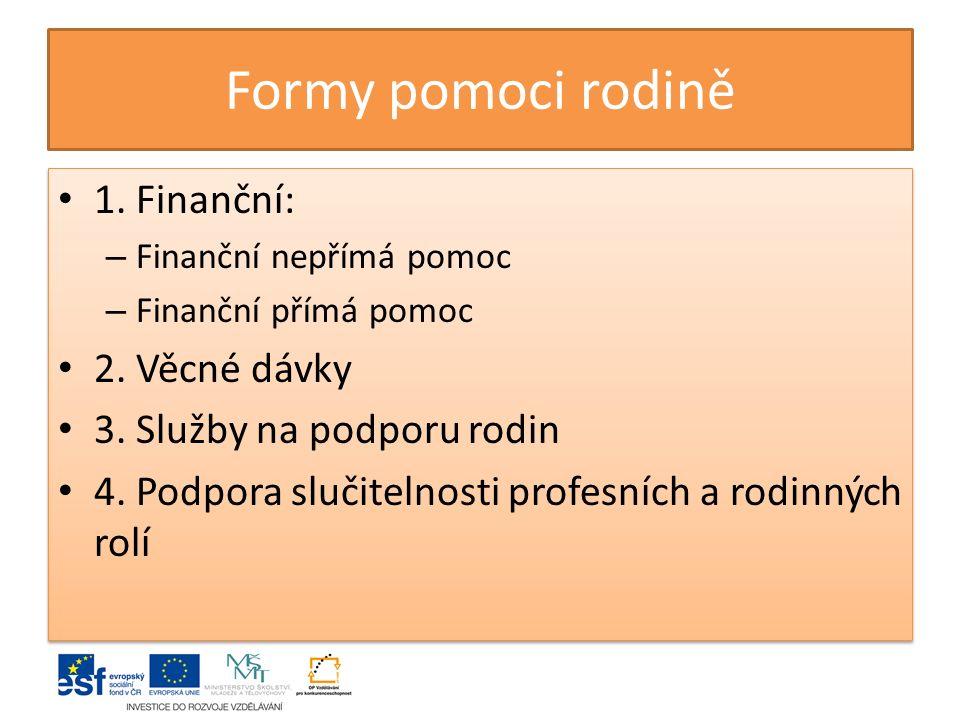 Formy pomoci rodině 1.Finanční: – Finanční nepřímá pomoc – Finanční přímá pomoc 2.