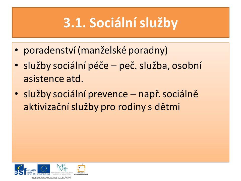 3.1.Sociální služby poradenství (manželské poradny) služby sociální péče – peč.