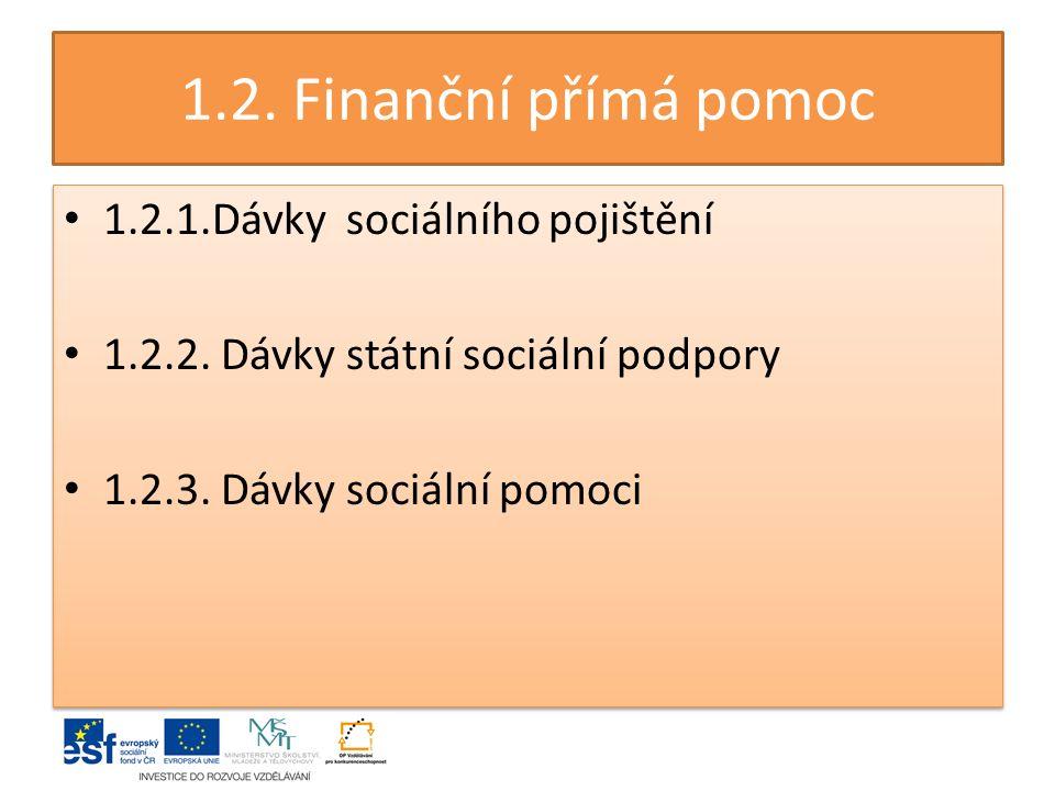 1.2. Finanční přímá pomoc 1.2.1.Dávky sociálního pojištění 1.2.2.