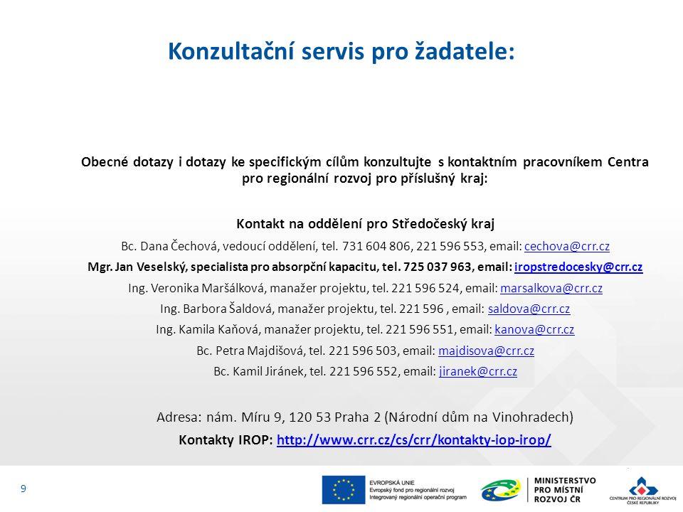 Obecné dotazy i dotazy ke specifickým cílům konzultujte s kontaktním pracovníkem Centra pro regionální rozvoj pro příslušný kraj: Kontakt na oddělení pro Středočeský kraj Bc.