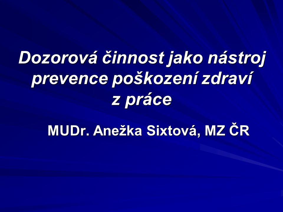 Dozorová činnost jako nástroj prevence poškození zdraví z práce MUDr. Anežka Sixtová, MZ ČR