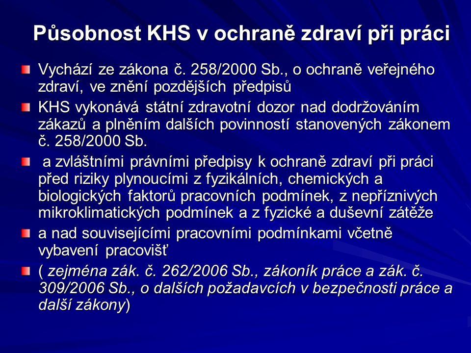 Působnost KHS v ochraně zdraví při práci Vychází ze zákona č.