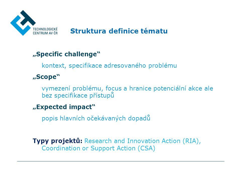 """Struktura definice tématu """"Specific challenge kontext, specifikace adresovaného problému """"Scope vymezení problému, focus a hranice potenciální akce ale bez specifikace přístupů """"Expected impact popis hlavních očekávaných dopadů Typy projektů: Research and Innovation Action (RIA), Coordination or Support Action (CSA)"""